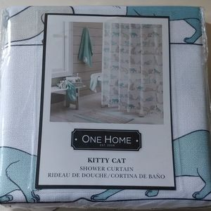 NWT Teal and White Cat Shower Curtain